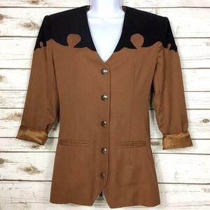Vintage Robellas Texas Brown Black Western Jacket
